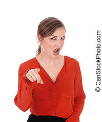 Woman pointing finger and shouting