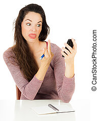 Woman pointing finger at mobile phone