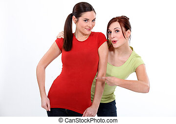 Woman pointing shirt