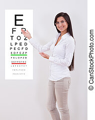 Woman pointing to an eye chart