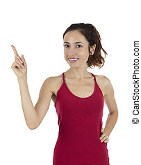 Woman pointing up to copy space