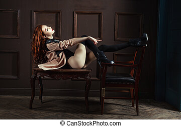 Woman points his finger provocatively. - Red-haired woman...