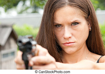 Woman points Revolver