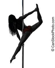 woman pole dancer silhouette - one caucasian woman pole...