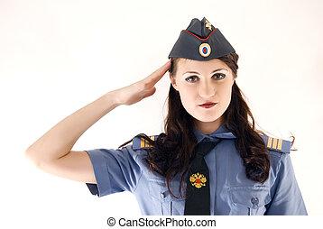 woman-policeman, jeune, séduisant