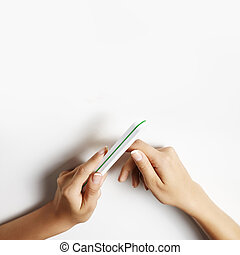 woman polish her nails