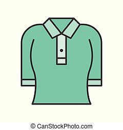 woman polo shirt, filled color outline editable stroke