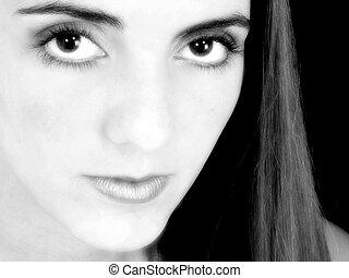 woman portré, b&w
