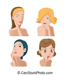 Woman Portrait Beauty Collection Set Vector