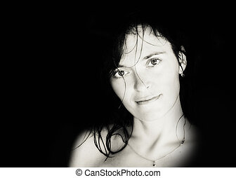 woman. portrait. black and white. photo
