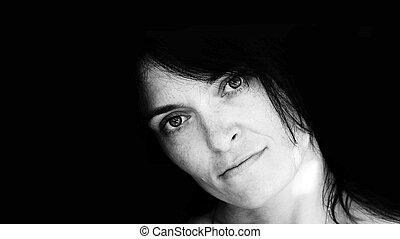 woman. portrait. black and white. photo