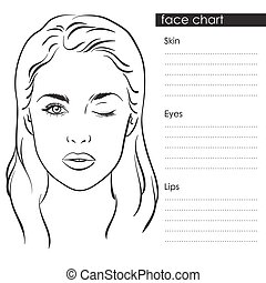 Woman portrait face chart vector - Beautiful woman with one...