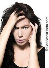 woman portrait hangover sad migraine grief depression