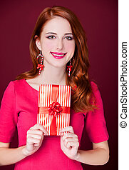 woman portrait hold christmas gift