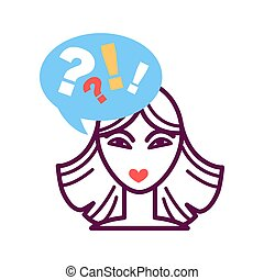 Woman portrait icon with speech bubble, question and exclamation mark
