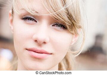 Woman portrait in bright soft colors