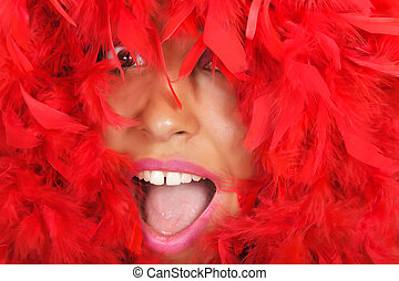 woman portrait in red feather