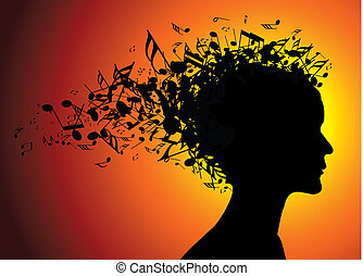 Woman portrait silhouette with notes