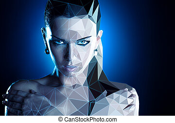 Woman portrait. Real woman digitizing to robot style...