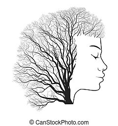 Woman portrait with double exposure, face and tree branches....