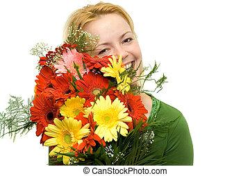 Woman portrait with flower bouquet