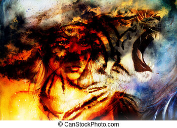 woman portrait with spiritual tiger on space, color painting...