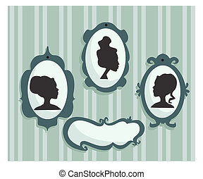 Woman portraits silhouette with place for your text