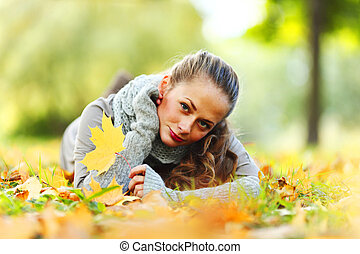 woman portret in autumn leaf - woman portret in autumn leaf...