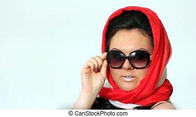 Woman posing in Sophie Loren style.