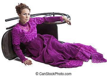 Woman posing in vintage dress