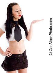 woman posing like holding something