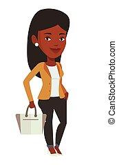 African model posing on catwalk during fashion event. Model walking on catwalk during fashion week. Woman on catwalk during fashion show. Vector flat design illustration isolated on white background.