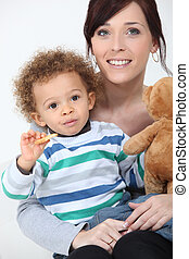 Woman posing with her child