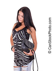 woman posing with lady's purse