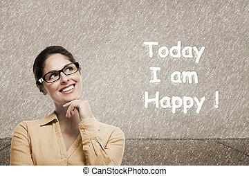 Woman positive thinking