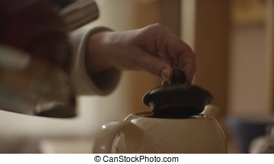 Woman pours boiling water into the cup and brew tea in a tea...
