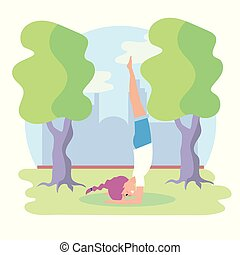 woman practice yoga balance exercise pose