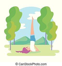 woman practice yoga balance exercise position
