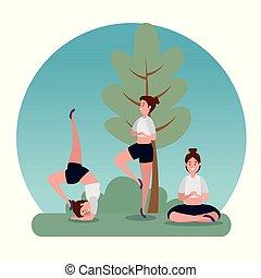 woman practice yoga balance exercise