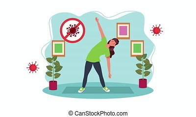 woman practicing exercise in home for covid19 prevention ...