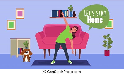 woman practicing exercise in home for covid19 prevention method ,4k video animation