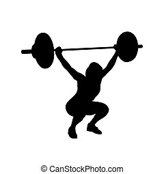 Woman practicing with barbell. Weight-lifting. Bodybuilding. Vector isolated silhouette
