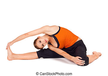 woman practicing gorilla pose yoga exercise woman