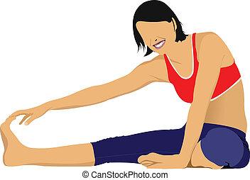 Woman practicing Yoga exercises. V