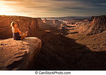 Woman practicing yoga meditation at Sunrise. Beautiful ...
