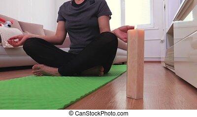 Woman practicing yoga meditation