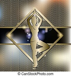 Woman practicing yoga with gold background