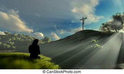 Woman praying at Jesus cross against beautiful sun rays, panning