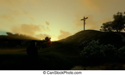 Woman praying at Jesus cross against beautiful sunrise, panning