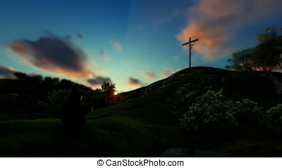 Woman praying at Jesus cross against beautiful timelapse sunrise, panning